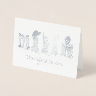 New York City Easter NYC Landmarks Buildings Foil Card