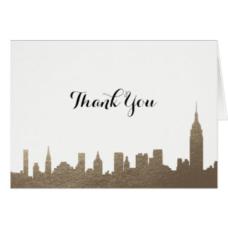New York City Faux Gold Thank You Card