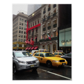 New York City Fifth Avenue Taxi Photography NYC Poster