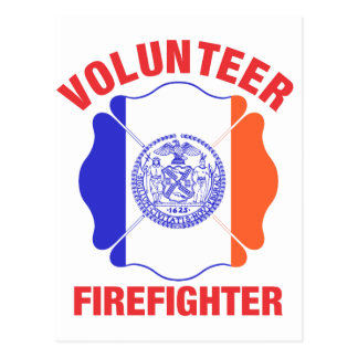 New York City Flag Volunteer Firefighter Cross Post Card