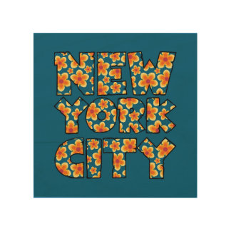New York City Floral Text Graphic Wood Wall Art