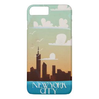 New York City Golden Sunset vintage travel poster iPhone 7 Plus Case