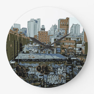 New York City Graffiti Large Clock