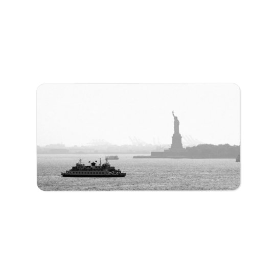 New York City Harbour - Statue of Liberty Address Label