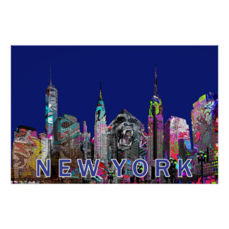 New York City  in graffiti Poster