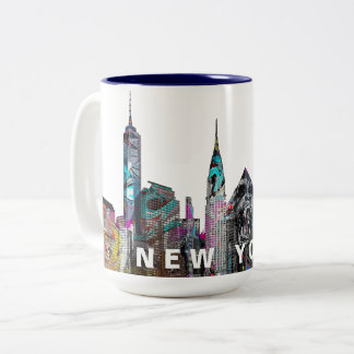 New York City  in graffiti Two-Tone Coffee Mug