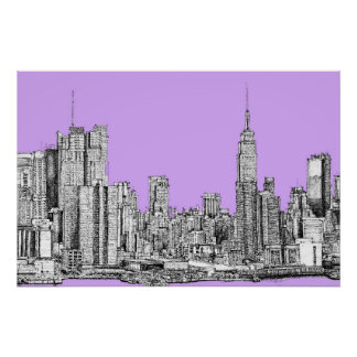 New York city in lilac pink Poster