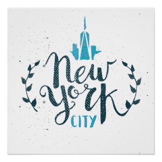 New York City Lettering Calligraphy Poster