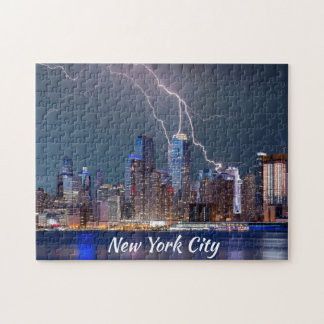 New York City Lightning Storm Jigsaw Puzzle