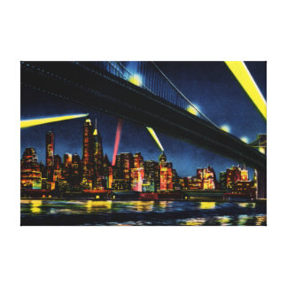 New York City Manhattan at Night Stretched Canvas Print