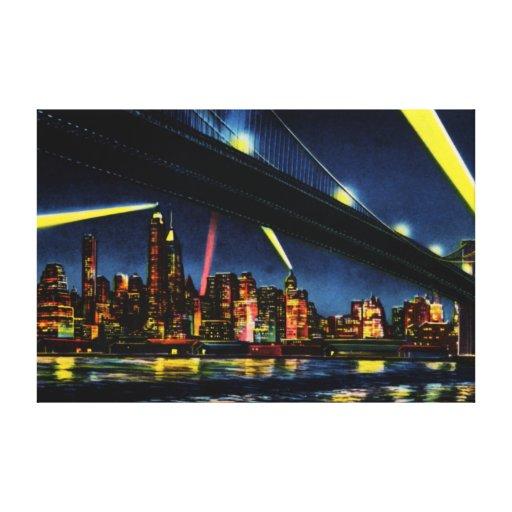 New York City Manhattan at Night Stretched Canvas Print