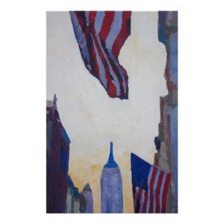 New York City - Manhattan Stars And Stripes Stationery Paper