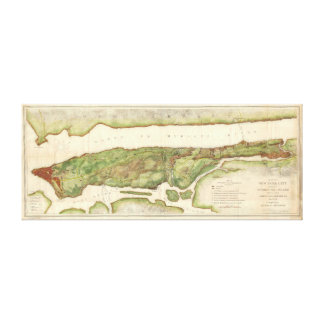 New York City Map During Revolutionary Map 1878 Stretched Canvas Prints