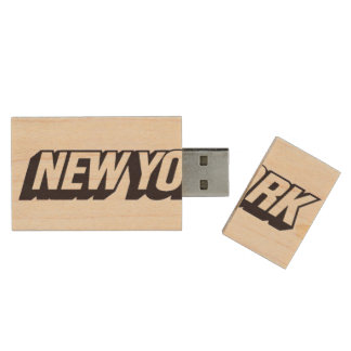 New York City Wood USB 2.0 Flash Drive