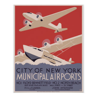 New York City Municipal Airports WPA Poster 1937