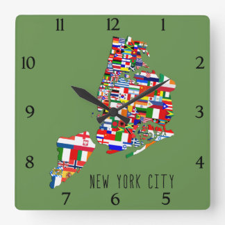 New York City Neighborhood Flags Wall Clock
