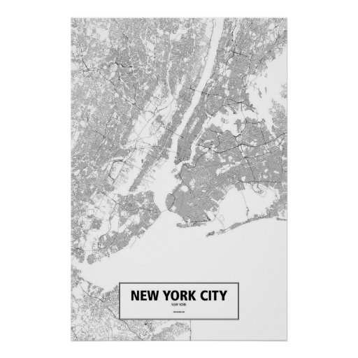 New York City, New York (black on white) Posters