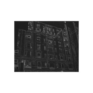 New York City Night Life Black and White Art 10 Stretched Canvas Print