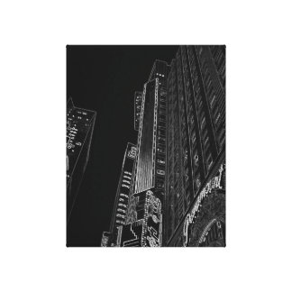 New York City Night Life Black and White Art 2 Gallery Wrapped Canvas