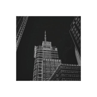 New York City Night Life Black and White Art 3 Stretched Canvas Prints