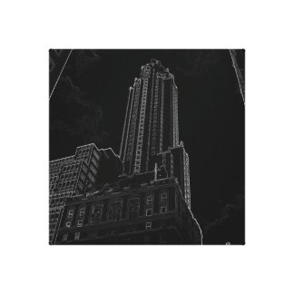 New York City Night Life Black and White Art 5 Gallery Wrap Canvas