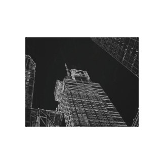 New York City Night Life Black and White Art 6 Canvas Print