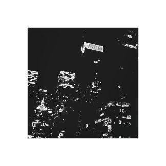 New York City Night Life Black and White Art 7 Stretched Canvas Print
