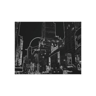 New York City Night Life Black and White Art Stretched Canvas Prints