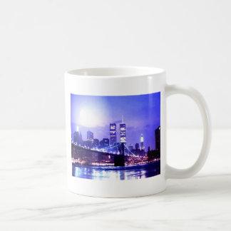 New York City Night Panorama Coffee Mugs