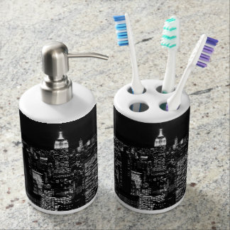 New York City night skyline Soap Dispenser And Toothbrush Holder