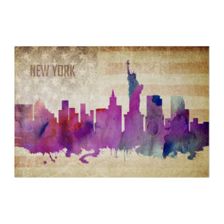 New York City, NY | Watercolor City Skyline Acrylic Wall Art