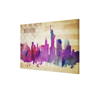New York City, NY | Watercolor City Skyline Canvas Print