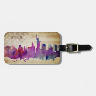 New York City, NY | Watercolor City Skyline Luggage Tag