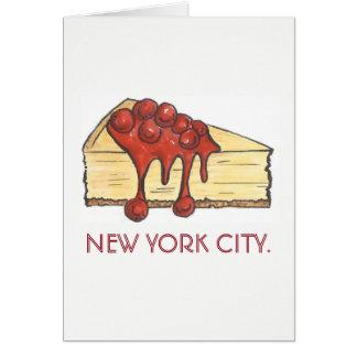 New York City NYC Cherry Cheesecake Slice Card
