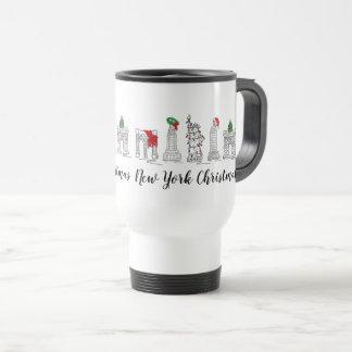 New York City NYC Christmas Holiday Xmas Landmarks Travel Mug