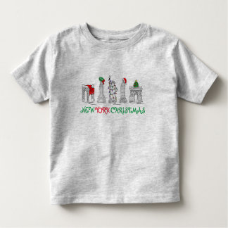 New York City NYC Christmas Landmarks Holiday Tee