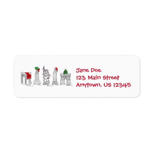 New York City NYC Christmas Xmas Landmarks Labels