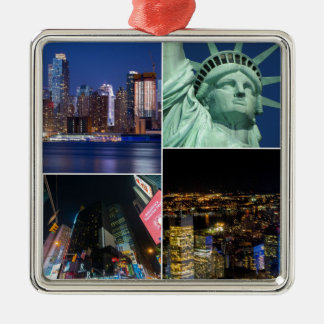 New York City NYC collage photo cityscape Metal Ornament