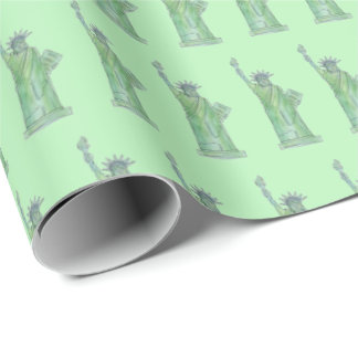 New York City NYC Green Statue of Liberty Lady Wrapping Paper