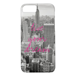 New York City NYC live your dream travel hot pink iPhone 8/7 Case