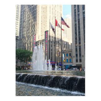 New York City NYC Rockefeller Center Fountain Postcard