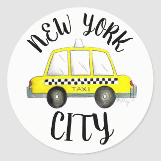New York City NYC Yellow Checkered Taxi Cab Car Classic Round Sticker
