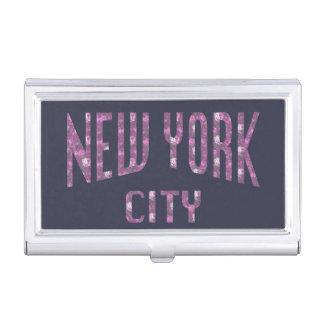 New York City on Spring Pink Rose Business Card Holder