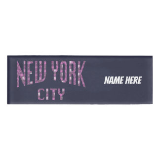 New York City on Spring Pink Rose Name Tag