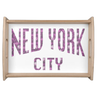 New York City on Spring Pink Rose Serving Tray