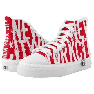 New York City Red Printed Shoes