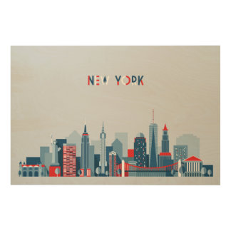 New York City | Red, White and Blue Wood Wall Art
