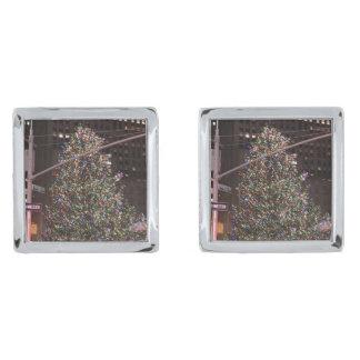 New York City Rockefeller Centre Christmas Tree Silver Finish Cufflinks