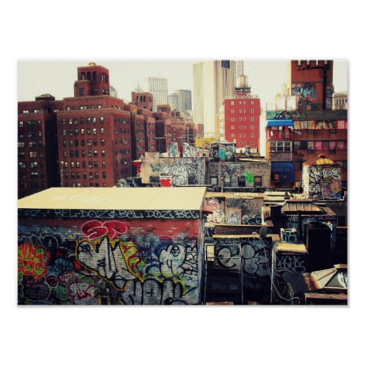 New York City Rooftops Covered in Graffiti, Small Posters
