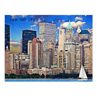 New York City Sailboat &  Buildings Postcard
